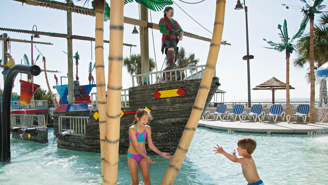 Children playing at the kids' waterpark in Myrtle Beach