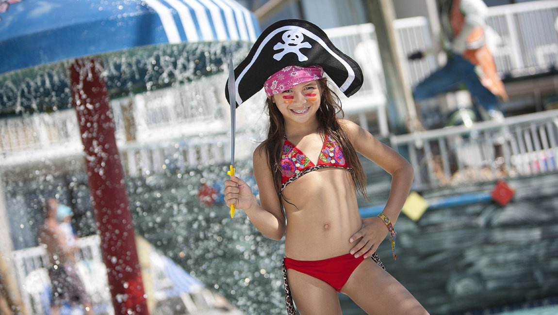 Girl with pirate hat in Myrtle Beach hotel