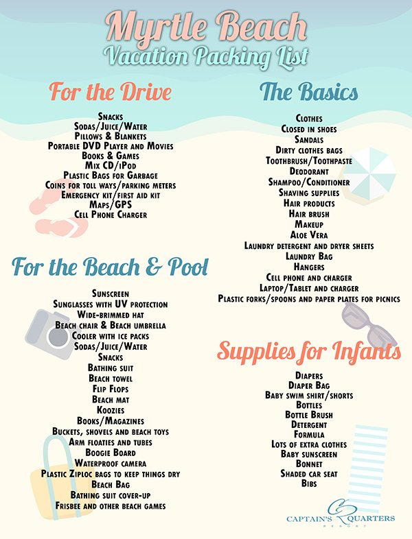 Family Vacation Myrtle Beach Packing List