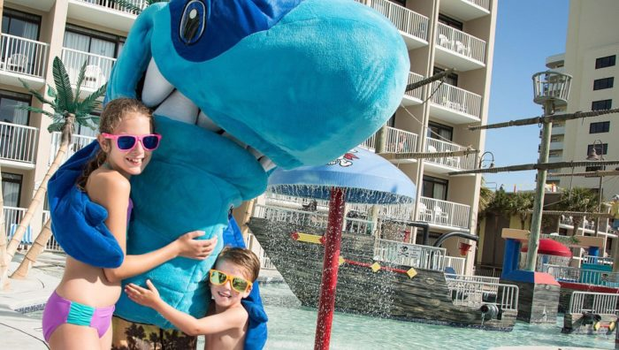 Kids with mascot at Myrtle Beach hotel